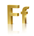 Golden letter F vector image