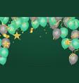 green and gray balloons confetti and ribbons vector image