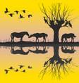 horses near the lake and cormorants vector image vector image