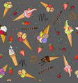 ice cream seamless pattern hand vector image