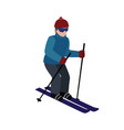 isometric isolated man skiing cross country vector image