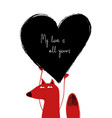 love card with cute fox vector image vector image