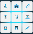 medicine icons colored set with handicapped claw vector image