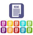 news newspaper icons set vector image vector image