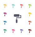 paint roller flat icons set vector image
