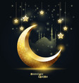 ramadan kareem - islamic crescent and mosque vector image vector image