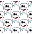 Repeat pattern of happy healthy teeth vector image