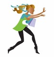 running girl shopping vector image vector image