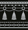 set collection silver metallic chain borders vector image