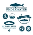 Set of labels and badges underwater vector image vector image