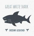 shark silhouette vintage label hand drawn sketch vector image vector image