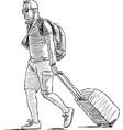 sketch a vacationer with luggage vector image vector image