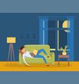 sleeping young man at home vector image