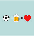 soccer beer love vector image