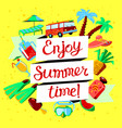 summer beach cartoon banner with enjoy summer vector image vector image