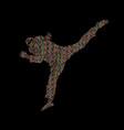 taekwondo jump kick action with guard equipment vector image