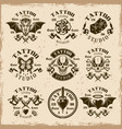 tattoo studio emblems in vintage style vector image vector image