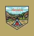 vintage great valley adventure logo hiking emblem vector image vector image