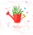 vintage red can watering with lily of the valley vector image