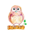 Watercolor cartoon owl sitting on the branch vector image vector image