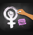 Womens hand drawing feminism protest symbol vector image
