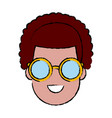 young man cartoon with sunglasses vector image vector image