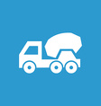 concrete mixer icon white on the blue background vector image