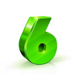 glossy green six 6 number 3d on vector image