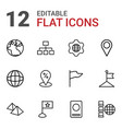 12 map icons vector image vector image