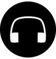 a design headphones icon in black circle flat vector image