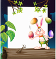 An empty template with a bunny juggling the eggs vector image vector image