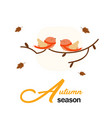 autumn season two birds background image vector image