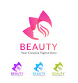 beauty salon logo with flower vector image