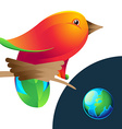 Bird logo with nest and planet vector image vector image