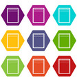 blank spiral notepad icon set color hexahedron vector image vector image