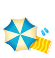 blue beach umbrella towel and slippers isolated vector image