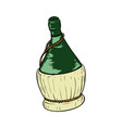 bottle wine in wicker basket on white vector image