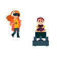 boy playing video game kid using glasses vector image vector image