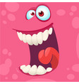 cartoon monster face isolated vector image vector image
