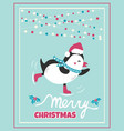 christmas card with holiday penguin and lights vector image