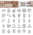 coffee line icon set coffee shop symbols vector image