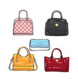 collection of different handbags for women vector image vector image