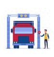 customs truck cargo scanner vector image vector image
