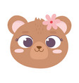 cute animal bear face with flower cartoon vector image vector image