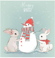 cute hares with snowman vector image vector image