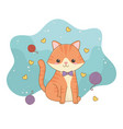 cute little cat mascot with wool roll and hearts vector image