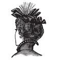 decorative hat tied ribbon vintage engraving vector image vector image