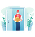 delivery man cartoon courier with face mask at vector image vector image