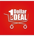 Dollar deal poster with a basket vector image vector image
