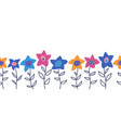 doodle flowers seamless border cute vector image vector image